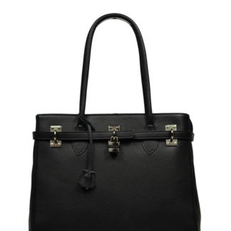 Černá kožená kabelka přes rameno Azra Grande Nera