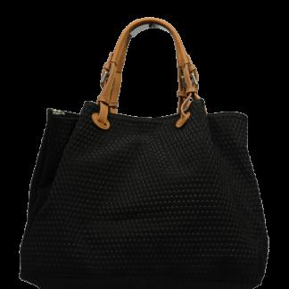 Černá kožená kabelka Belloza Nera Camel