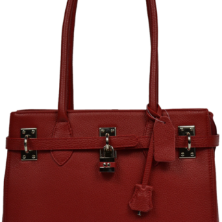 Červená kožená kabelka Azra Rossa
